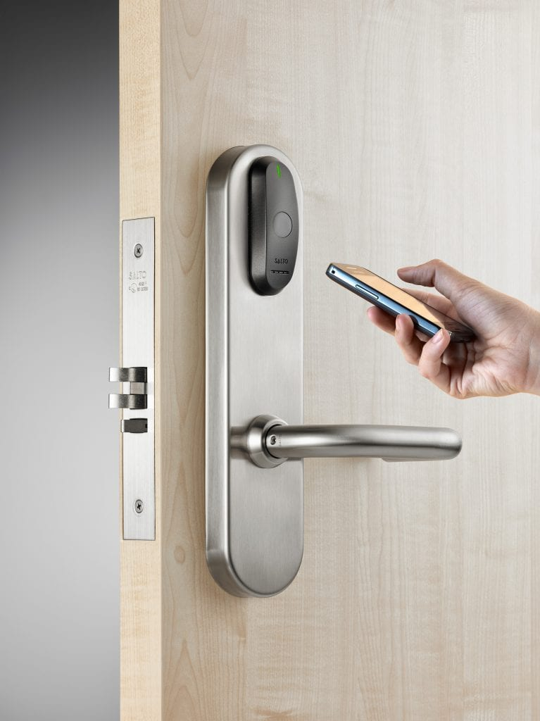 Unlocking a Salto lockset with a mobile phone
