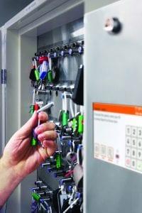 Traka key cabinet close up