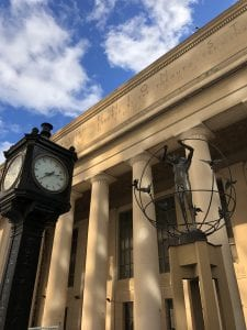 Exterior of Union station with clock and sculpture