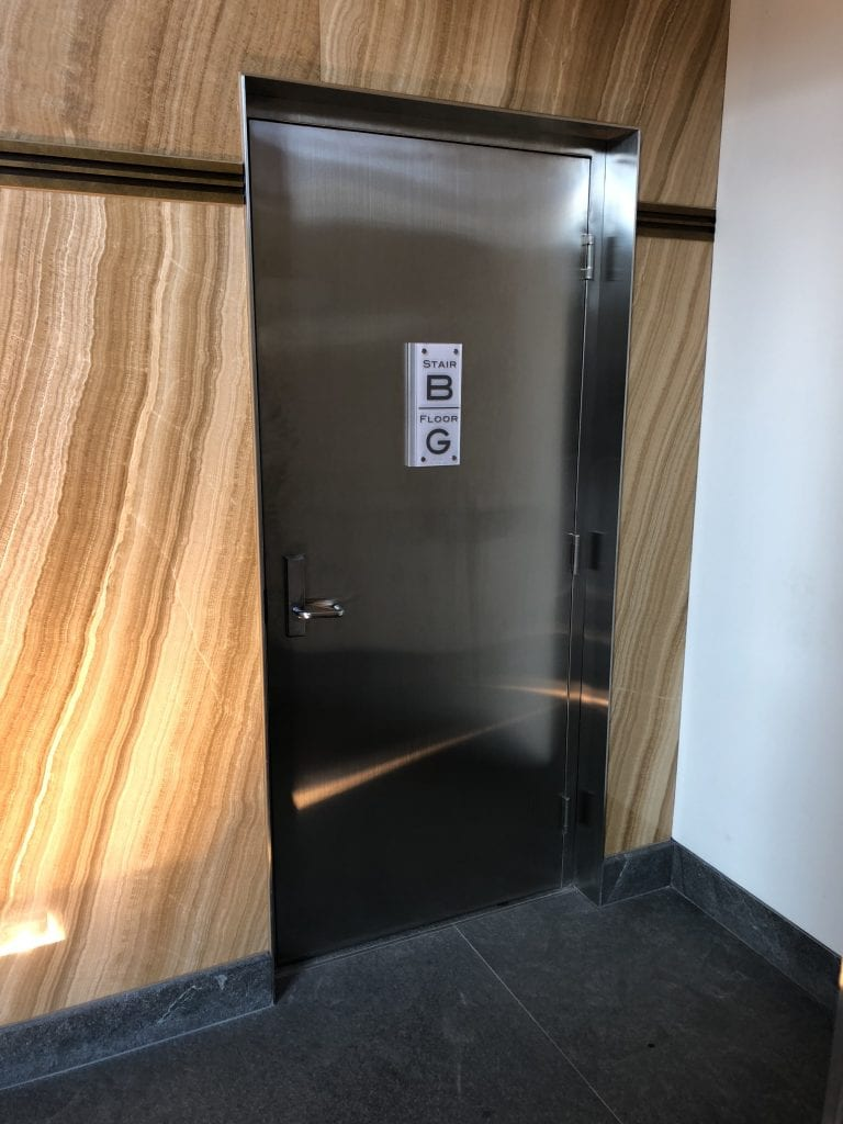 Stainless steel door and frame at 1 York St