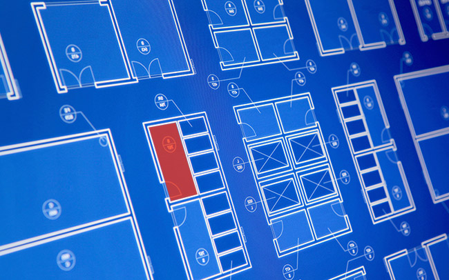 Security monitoring - Floor plan with alert