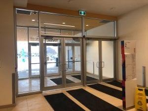 Interior vestibule with door operators