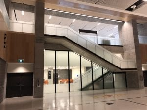 Feature staircase and exit door