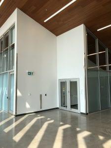 Wide shot of aluminum doors with full height pulls