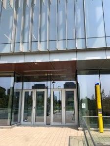 Exterior aluminum doors with full height pulls