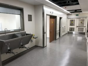 Hospital corridor with double egress doors