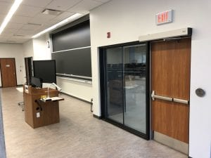 Classroom door with exit device and auto operator
