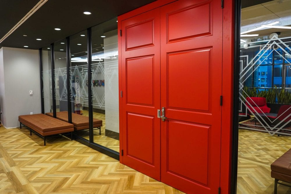 Red door with electric strike - pull side