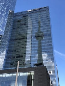 Bremer tower with CN tower reflection