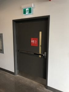 Extra wide stair door with exit device
