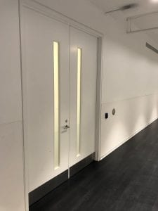 Double doors to main storage room