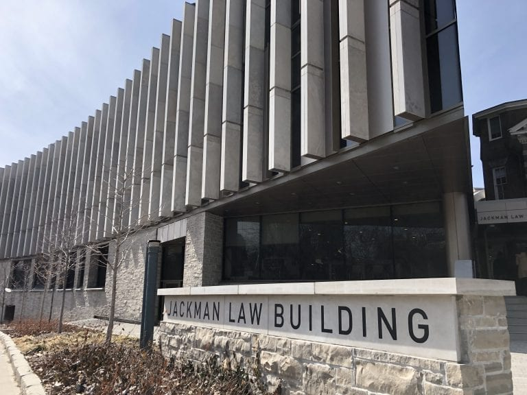 jackman law building exterior with sign