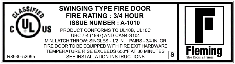 Fleming 45 minute fire door label